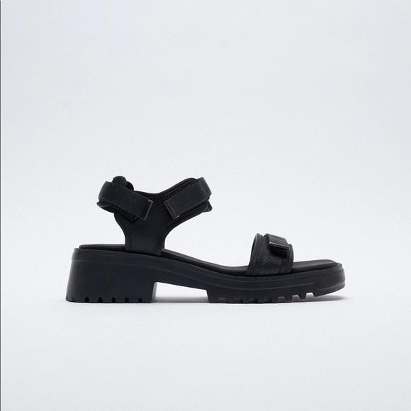 NWT. Zara Black Zara Sandals. Size 6.